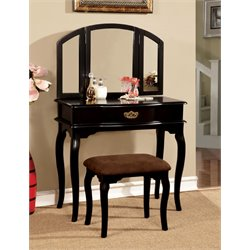 Furniture of America Lizzingly Vanity Set with Stool in Black