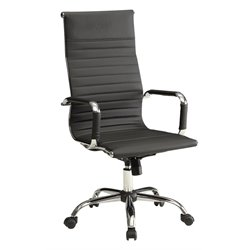 Furniture of America Axelson Leather High Back Office Chair in Black