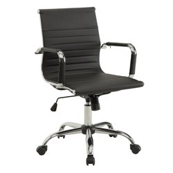 Furniture of America Axelson Leather Office Chair in Black