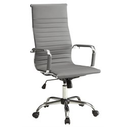 Furniture of America Axelson Leather High Back Office Chair in Gray