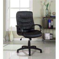 Furniture of America Mopart Leather Office Chair in Black