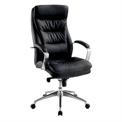 Furniture of America Jolli Faux Leather Swivel Office Chair in Black