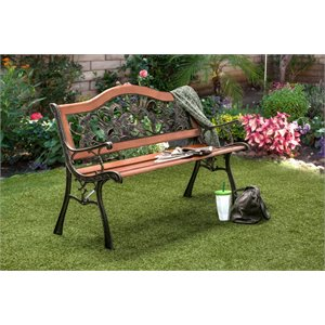 Furniture of America Jardy Patio Bench in Black