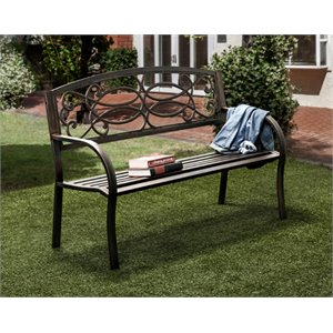 Furniture of America Layne Slatted Patio Bench in Black