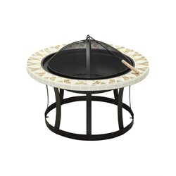 Furniture of America Henri Patio Fire Pit in Black