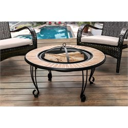 Furniture of America Harlan Patio Fire Pit in Black