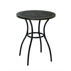 Furniture of America Ceanna Patio Round Bistro Table in Black