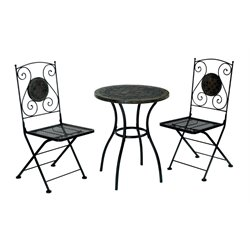 Furniture of America Ceanna 3 Piece Patio Bistro Set in Black
