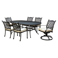 Furniture of America Gamilt 7 Piece Metal Patio Dining Set in Black