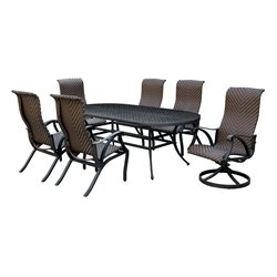 Furniture of America Gamilt 7 Piece Metal Patio Dining Set in Brown