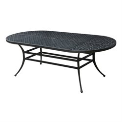 Furniture of America Gamilt Oval Patio Dining Table in Brown and Black