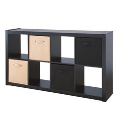 Furniture of America Scott 8 Cubby Bookcase with Baskets in Black