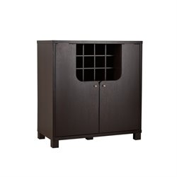 Furniture of America Woodsing Wine Cabinet in Cappuccino