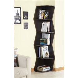 Furniture of America Jillians 5 Shelf Corner Bookcase in Walnut