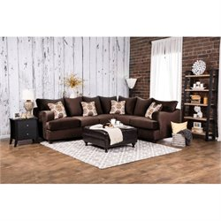Furniture of America Creech Fabric Sectional with Ottoman in Chocolate