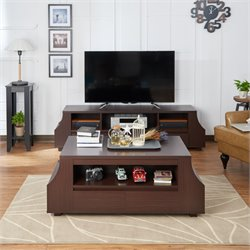 Furniture of America Moshe Coffee Table with Side Storage in Walnut