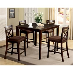 Furniture of America Dien 5 Piece Counter Height Dining Set