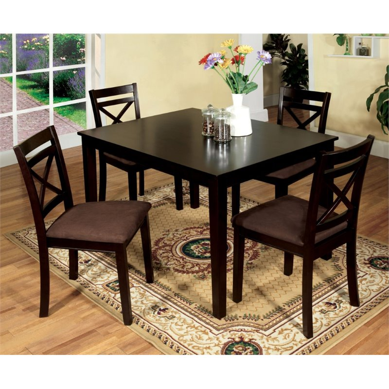 Whitley Cappuccino 5 Piece Dinette Set: Furniture Of America Dien 5 Piece Dining Set In Espresso