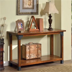 Furniture of America Claycomb Console Table in Antique Oak