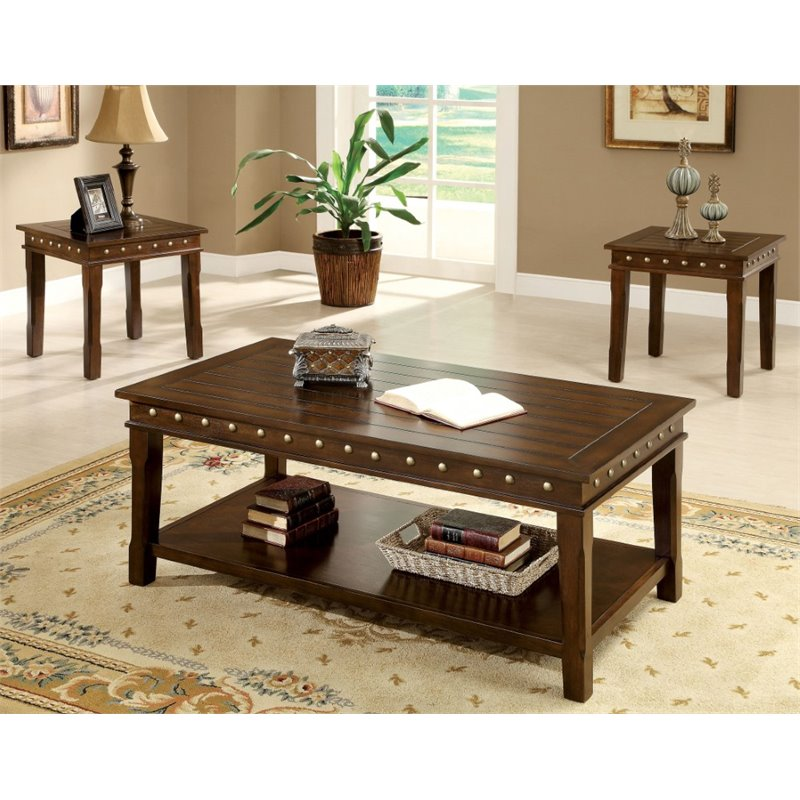 Furniture of America Harley 3 Piece Coffee Table Set