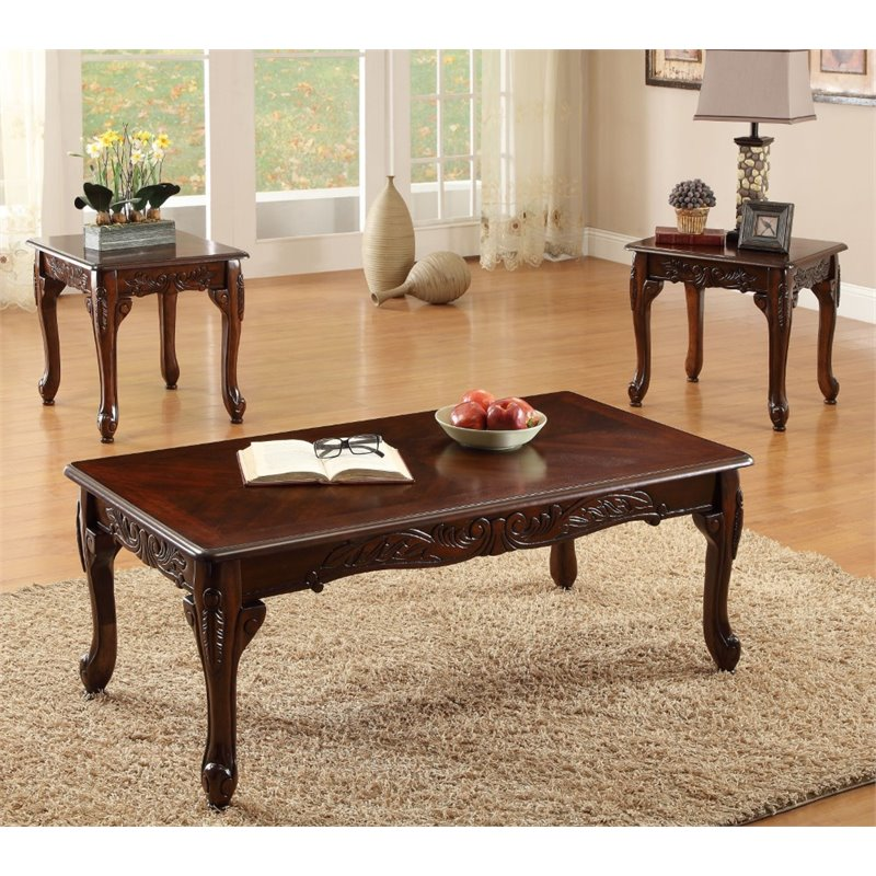Furniture of America Alice 3 Piece Coffee Table Set in Dark Cherry & Furniture of America Alice 3 Piece Coffee Table Set in Dark Cherry ...