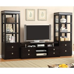 Furniture of America Mixon 3 Piece Entertainment Center Set in Black