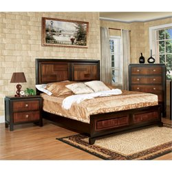 Delia 2 Piece Bedroom Set in Acacia/Walnut
