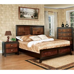 Furniture of America Delia 3 Piece Panel California King  Bedroom Set