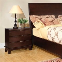 Furniture of America Colpton 3 Drawer Nightstand in Brown Cherry