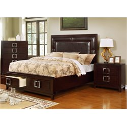 Heffen 2 Piece Bedroom Set in Brown Cherry