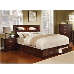 Louis 3 Piece Bedroom Set in Brown cherry