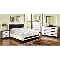 Retticker 4 Piece Bedroom Set in White and black