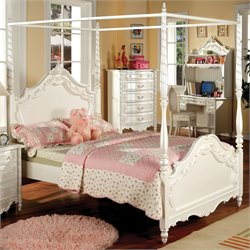 Furniture of America Minerva Twin Canopy Bed in Pearl White