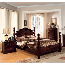 Cathie 3 Piece Bedroom Set in Glossy Dark Pine