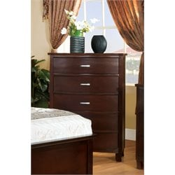 Furniture of America Pruden 5 Drawer Chest in Brown Cherry
