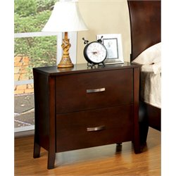 Furniture of America Ownby Nightstand in Brown Cherry