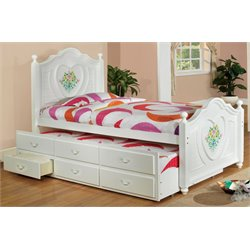 Furniture of America Anastasia Twin Platform Bed with Trundle in White