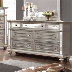 Furniture of America Farrah 7 Drawer Mirrored Dresser in Silver