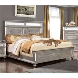 Furniture of America Farrah Queen Mirrored Bed in Silver