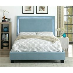 Furniture of America Luna Queen LED Bed in Blue