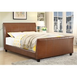 Furniture of America Weston Queen Leatherette Bed in Dark Caramel