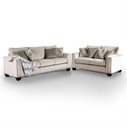 Furniture of America Sophie 2 Piece Fabric Sofa Set in Light Mocha