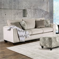 Furniture of America Sophie Fabric Upholstered Sofa in Light Mocha