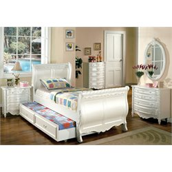 Furniture of America Rollison 4 Piece Twin Bedroom Set in Pearl White