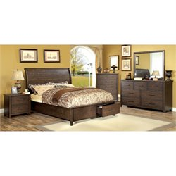Furniture of America Nuguay 4 Piece King Bedroom Set in Espresso