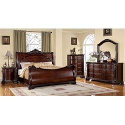Heffen 4 Piece Bedroom Set in Brown Cherry