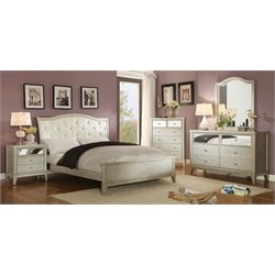 Furniture of America Bessie 4 Piece King Bedroom Set in Silver