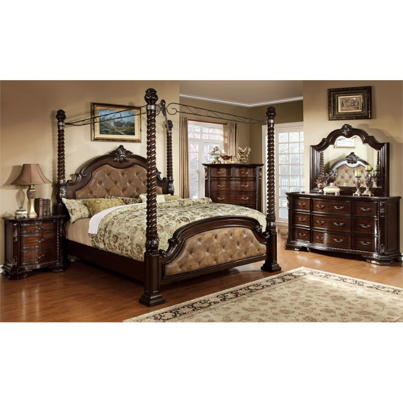 furniture of america cathey 4 piece california king canopy