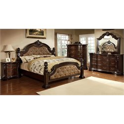 Cathey 4 Piece Bedroom Set in Dark walnut