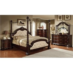 Furniture of America Cathey 4 Piece California King Canopy Bedroom Set